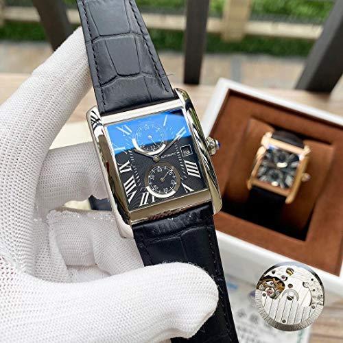 JFfactory Luxury Designer Brand Joker Men Tank Watch Orologi da Polso Meccanici Automatici in Pelle Orologio da Uomo Quadrato Silver Black