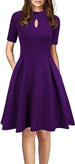 Women's Short Sleeve Vintage Pockets Swing Business Church Dress
