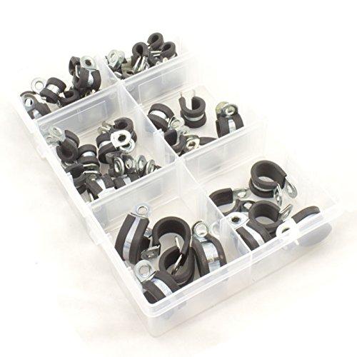 En caoutchouc doublé en métal plaqué zinc P Clips pour Câble, assortis Boîte de 45 pièces