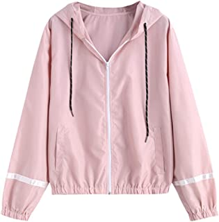 ZAFUL Women's Stripe Hooded Panel Windbreaker Casual الرباط Zip Up Sports سترة خفيفة الوزن