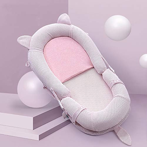 Bebé Nido Pod, Almohada Capullo Cama Cuna portátil con Eco colchón de látex Suave y Transpirable - Desmontable Cuna for el bebé recién Nacido (Color : Pink)