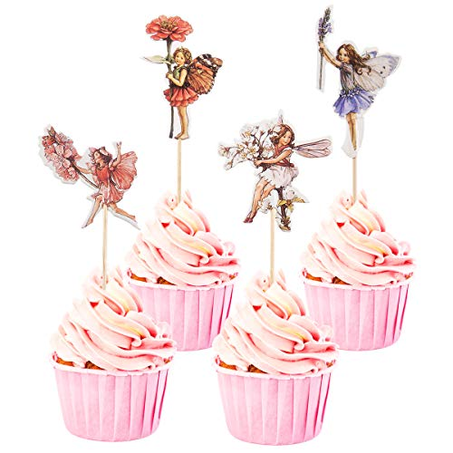 YunKo 24 Pcs Fairy Cupcake Toppers Fairy Cupcake Picks for Kids Birthday Party Decorations