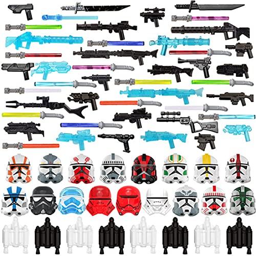 LAKA Armatura Arma Set 71Pcs Arma Militare Custom Space Wars Sci-Fi Style Mini Figure Casco SWAT Kit Compatibile con Lego Star Wars