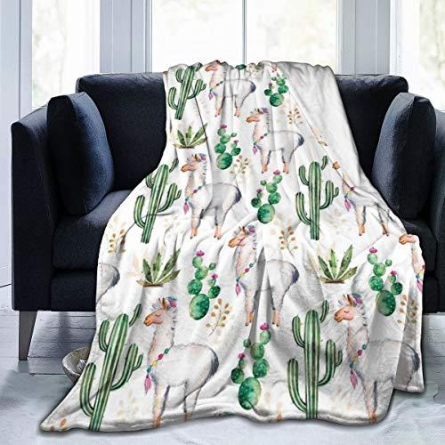 Qing_II Manta de forro polar con diseño de cactus de plantas del sur con diseño de camello de animales, franela de color moderno, manta suave y cálida para invierno, 50 x 65 pulgadas para cama, sillón, oficina