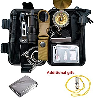 POTEGAR Survival Gear Kits 14 in 1- Outdoor Emergency SOS Survive Tool for Wilderness/Trip/Cars/Hiking/Camping Gear - Wire Saw, Emergency Blanket, Flashlight, Tactical Pen, Water Bottle Clip ect