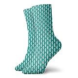Calcetines suaves de longitud media pantorrilla simplista silueta caballito de mar formas en repetición tema de acuario tropical, calcetines para mujeres y hombres mejores para correr
