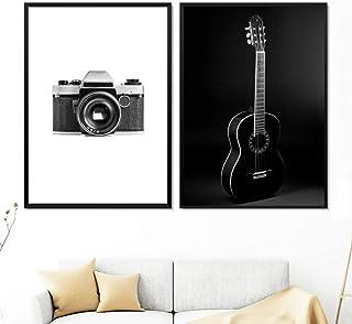 Cámara Guitarra Blanco y negro Foto Arte de la pared Pintura de la lona Cartel nórdico e impresión Imagen de la pared para la sala de estar Decoración escandinava -50x70cmx2 (sin marco)