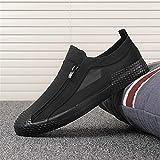BAQI Herren Schuhe atmungsaktiv Outdoor-Freizeitschuhe Herren Schwarz Bequeme Slip-On Loafers Faule Driving Schuhe 2020 Neue,Schwarz,43