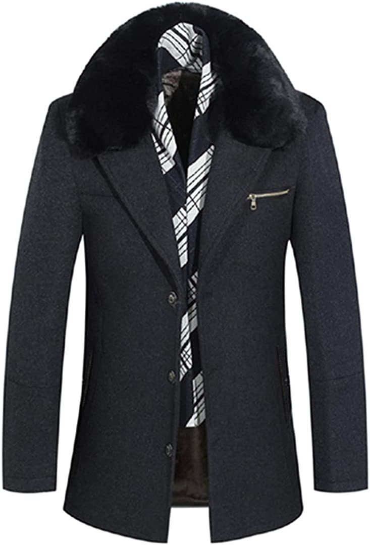 Men Wool Coat Thick Mens Coats And Jackets Warm Pea Coat Male Business Overcoat With Fake Collar