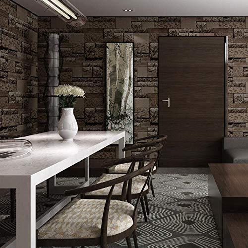 LZHui Tapete 3D Grey Brick Wallpaper Vliestapete für Schlafzimmer Wohnzimmer TV Hintergrund Küche Home Office Tapete-Braun
