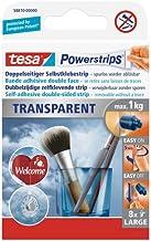 tesa Powerstrips Transparant, Large - Zelfklevende strips - Onopvallende plakstrips voor gladde oppervlakken - Draagkracht...