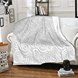 J-shop Geometric Circle Decor Simplistic Rotary Interior Lines Vortex Stripes Minimal Origami Design Gray Personalized Fashion Air Conditioning Blanket For Adults and Children