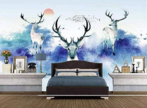 Papel pintado de acuarela de tinta azul Papel tapiz no tejido 3D Murales Sala de estar Decoración de la pared del dormit Pared Pintado Papel tapiz 3D dormitorio de estar sala sofá mural-400cm×280cm