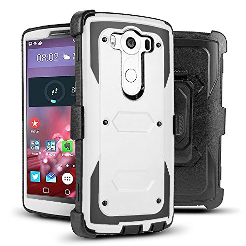"J.west LG V10 Case, Hybrid Rugged TPU Full-Body Protection Case Shock Absorption Design with Rotating Belt Clip Holster Kickstand Armor Case for LG V10 Case (5.7"" inch)(White/Black)"