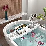 Mantraraj Wooden Bath Caddy Tray Bridge - White Bath Caddy Bamboo Bathtub Tray Rack Tidy Bathroom Shelf Organizer Storage Bath Table for Reading , Tablet, Kindle, Wine Glass Bath Accessories