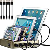 Simicore Charging Station for Multiple Devices, Simicore 4-Port USB Charger Station with 5 Short Mixed Cables for Cell Phones, Smart Phones, Tablets (Gold)