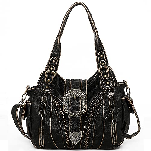 Montana West Shoulder Tote Bags Concealed Carry Purse for Women Roomy Soft Washed Leather Hobo Handbag Handgun Crossbody Bags Bronze MBB-MWC-020BZ