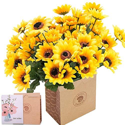 SNAILGARDEN 6 Sträuße Künstliche Sonnenblumen, 42 Köpfe Seide Gefälschte Sonnenblumen Deko mit Grußkarte & Papiertüte,Sonnenblumen Kunstblumen Blumenstrauß für Home Tischdeko Geschenk Office Hochzeit