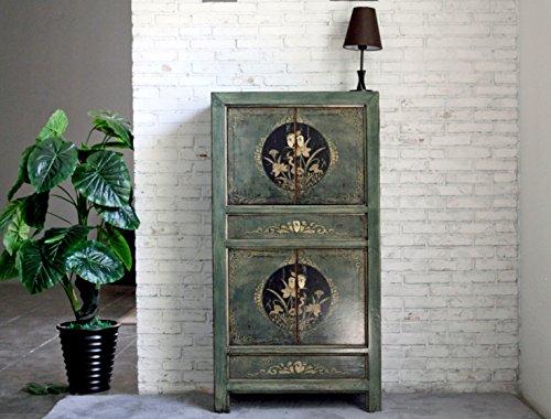 OPIUM OUTLET Armario, Comoda Alta, Chino, Coloreado Asiatico Vintage Oriental Madera, Dormitorio, Salon, Verde