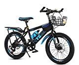 Smilewx Mountain Bike Bike Double Disc Brake Kids Mountain Bike 20 in Unisex Wheel Type Freestyle Bicycle,Blue
