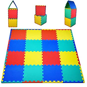 "KC Cubs Soft & Safe Non-Toxic Children's Interlocking Multicolor Exercise Puzzle EVA Play Foam Mat for Kids's Floor & Baby Nursery Room 16 Tiles 4 Colors 11.5"" x 11.5"" 24 Borders  EVA001"
