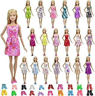 EC2TOY 10 Pcs Doll Clothes Party Mini Gown Dress + 10 Pair of Shoes | for 11.5 Inch Girl Dolls | Birthday Reward Gift | Ramdon Designed Outfits