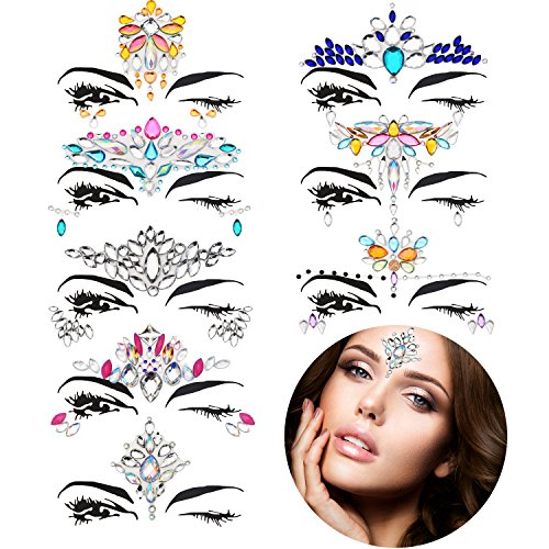 TOODOO 8 Sets Mermaid Face Gems Glitter Sticker Rhinestone Bindis Crystal Face Jewels Tattoo Forehead Decorations for Women Favors (Delicate Pattern)