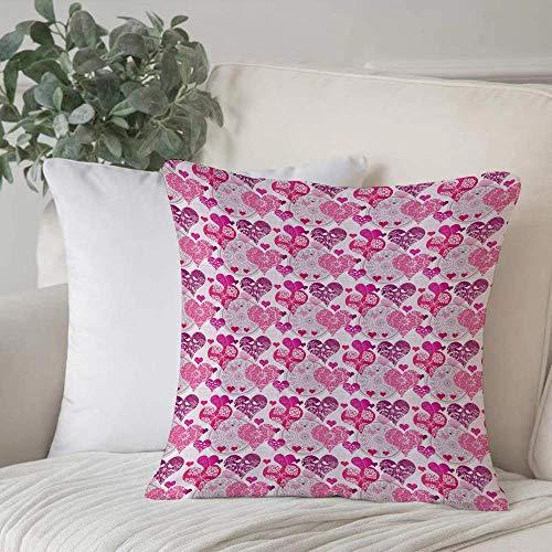 Funda de almohada, funda de cojín Corazones, símbolos ornamentales inspirados en el Día de San Valentín Patrón de amor en tonos rosados, decoración de MuHome Funda de cojín Cuadrado acogedor para sofá