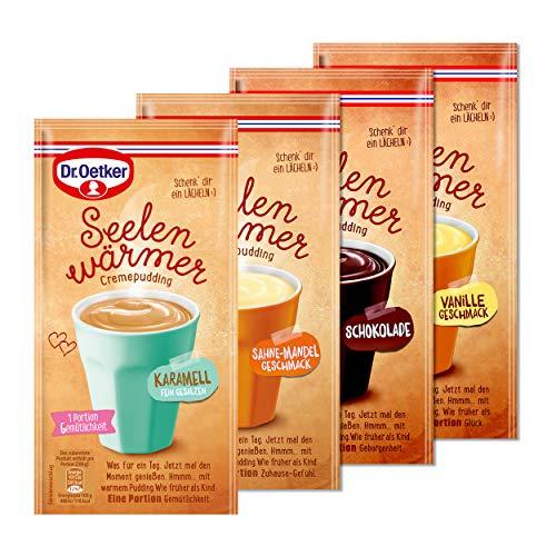 Dr. Oetker Seelenwärmer im praktischen 4er Probier-Set – der Tassenpudding in den bewährten Geschmacksrichtungen Schokolade, Vanille, Sahne-Mandel und Karamell