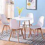 Uderkiny A Tavolo da Pranzo Rotondo e 4 sedie in Stile Nordico,...