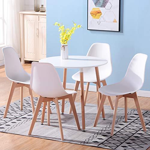 Uderkiny A Tavolo da Pranzo Rotondo e 4 sedie in Stile Nordico, Piano in MDF e sedie in Stile Nordico, Adatte per ristoranti cucine balconi uffici (Bianco 02)