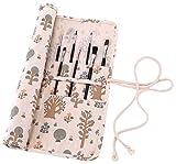 Abaría - Bolso estuche enrollable para pinceles para pintar al Óleo / Acrílica / Acuarela, portalápices de lona 20 agujeros, bolsa organizador para brochas de arte profesionales infantil adulto