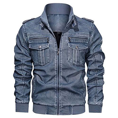 XFei Herren Motorrad Biker Slim Fit Vintage Distressed Brown Lederjacke, Café Racer Herren Langarm Stehkragen Motorrad PU Leder Outwear Mantel