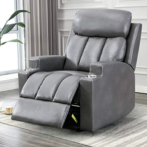 Breathable PU Leather Recliner, Single Chair Sofa with 2 Cup Holders Contemporary Theater Seat for Living Room Bedroom Home Theater