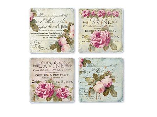 4 Stück Shabby Vintage Glasuntersetzer Shabby CHIC Flora Untersetzer aus Marmor Frankreich Chic