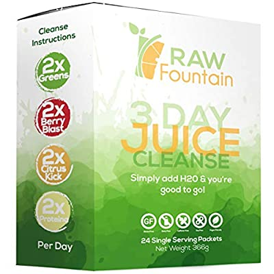 3 Day Juice Cleanse Detox, 24 Powder Packets, Travel and Vegan Friendly, Weight Loss Program, All Natural, Includes Protein (3 Day) from Raw Fountain Juice Inc