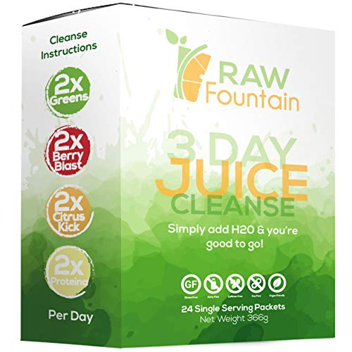 3 Day Juice Cleanse Detox, 24 Powder Packets, Travel and Vegan Friendly