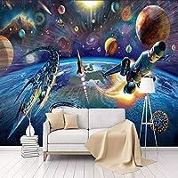 HGFHGD 自己粘着性の3D壁画壁紙現代漫画宇宙船子供部屋寝室の壁の装飾ウォールステッカーウォールアート