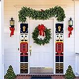 LINGSFIRE Decoraciones Navideñas de Cascanueces Pancartas de Cascanueces, para decoración al aire libre, diseño de soldado, para porche, puerta delantera, jardín, interior, exterior,1 par 32 x 180 cm