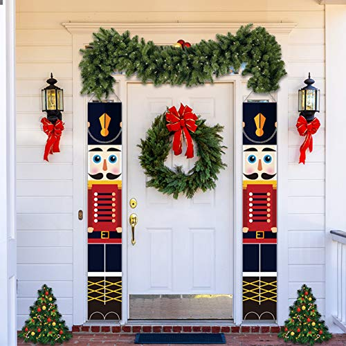 LINGSFIRE Decoraciones Navideñas de Cascanueces Pancartas de Cascanueces, para decoración al aire libre, diseño de soldado, para porche, puerta delantera, jardín, interior, exterior,1 par 32 x 180 cm 🔥