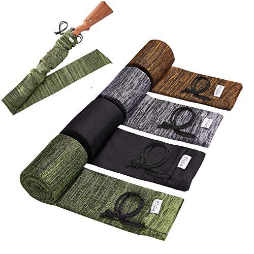 Flyfan Gun Sock Treated Knit Gun Socks for Rifles,Extra-Wide Rifle Sock,52'-4-Pack Fits Rifle/Shotguns with Scopes