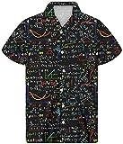 Agroupdream - Camisa hawaiana para hombre, manga corta, con botones, de verano, para fiestas temáticas de playa, talla 2XS-4XL Negro Fórmula matemática S