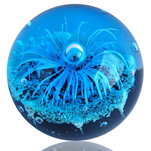 EUSTUMA Glas Blau Blume Kugel Figur, Briefbeschwerer Glaskugel, Meer Pflanze Ornament Für Fisch Tank Aquarium, Meer Pflanze Sammlung Für Geburtstagsgeschenk, Glas Briefbeschwerer