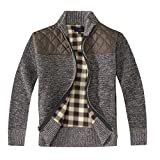 Gioberti Boy's Knitted Full Zip Cardigan Sweater with Soft Brushed Flannel Lining, Melange Coffee, Size 10