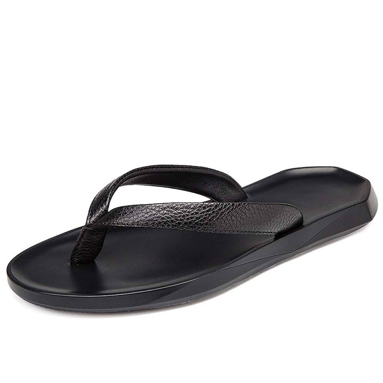 男士革靴 アーチ型のサポートライトシャワー付きレザースリッパ滑り止めコンフォートスリッパ 個性な (Color : ブラック, サイズ : 26 CM)