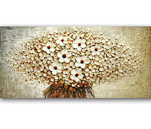 Orlco Art, dipinto a mano con petali di ciliegio blu e albero blu, dipinto originale, grande arte astratta arte da parete, tavolozza per pittura a olio su tela, bianco, 24x48inch (60x120cm)
