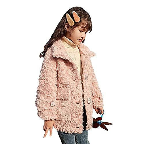 XHAEJ Linda Chaqueta de Cachemira para niñas, Chaqueta Ocasional de vellón cálido, Chaqueta de Sherpa de Invierno, Chaqueta Casual Chaqueta para niños 8-14 años, Rosa, 120 (Color : Pink, Size : 160)