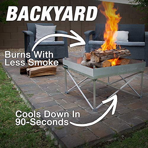 Pop-Up Fire Pit   Portable and Lightweight   Fullsize 24 Inch   Weighs 7 lbs.   Never Rust Fire Pit   Heat Shield NOT Included