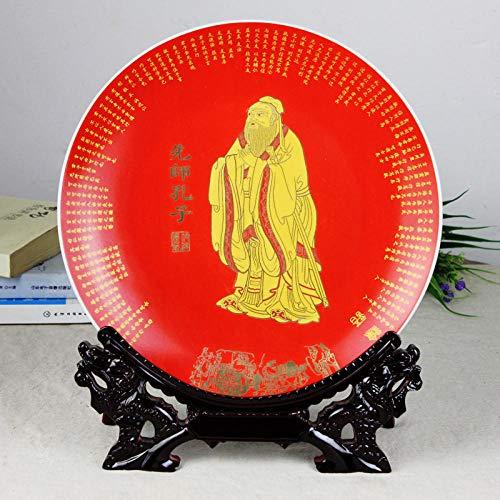 Bedom wallpaper Jingdezhen Cerámica Confucio Placa de decoración Placa Colgante Sala de Estar Artesanía Decoración Decoración Regalo-Soporte de Grifo