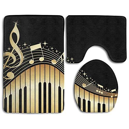 Beck Roy Novela Music Note Imprime tapetes de baño, Tapa de Asiento de Inodoro, Tapa de Tapa de tapete de baño, 3 Piezas/Juego de alfombras
